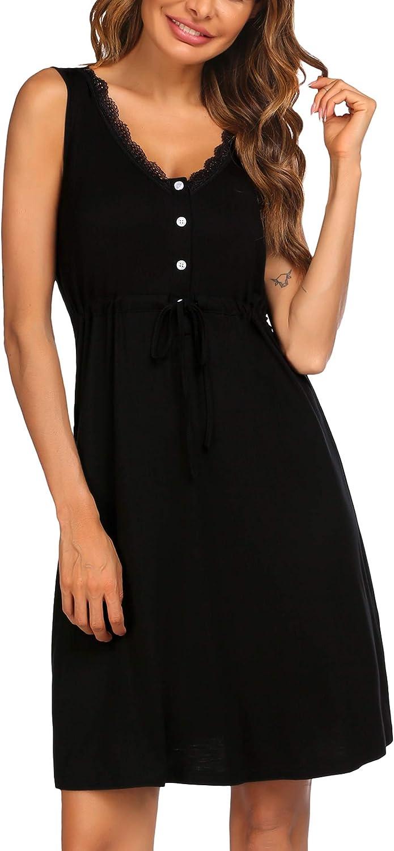 ADOME Womens Nightgown V Neck Sleepwear Cotton Novelty Sleepshirts Camisole Slip Dress