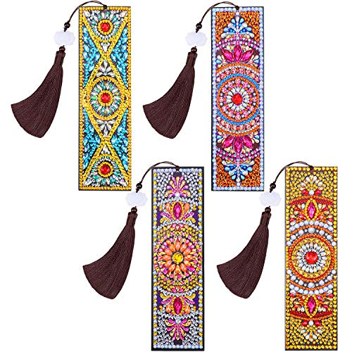 4 Piezas Marcador de Libro de Pintura de Diamantes 5D Marcapáginas con Borla de Cuero Hermosas y Impresión de Flor de Cuentas Regalo de DIY para Día de Madre San Valentín Manualidades de Bordado