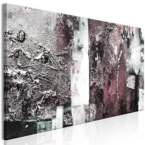 decomonkey Akustikbild Abstrakt 120x40 cm 1 Teilig Bilder Leinwandbilder Wandbilder XXL Schallschlucker Schallschutz Akustikdämmung Wandbild Deko leise Modern Kunst grau rosa