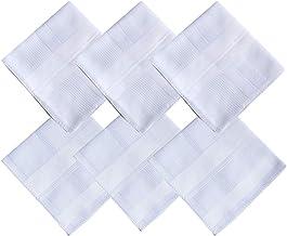 "2 Pattern -Men's Cotton Handkerchiefs Solid White Large 17x17"" Hankies"
