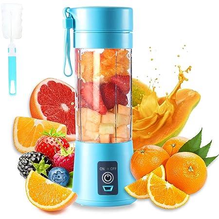 Presse-agrumes portable, mélangeur électrique USB, mini-mélangeur portable pour shakes et smoothies, mélangeur de jus 380 ml avec six lames idéal pour le mélange