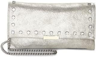Embellished Silver Metallic Leather Tab Clutch Crossbody Bag