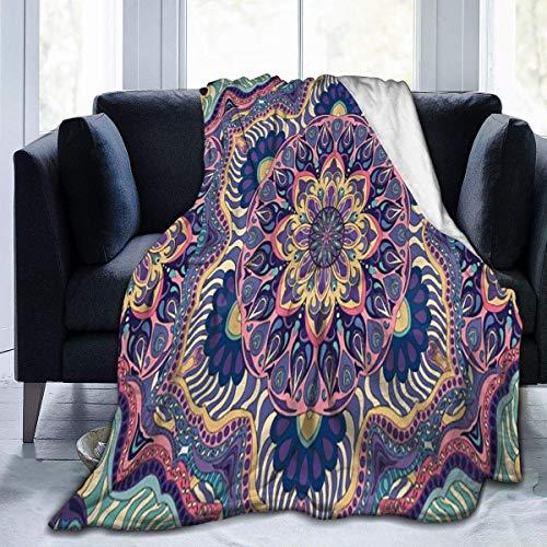 AEMAPE Manta de Tiro Patrón de Mandara Indio Manta cálida Manta Suave para sofá de Oficina en casa