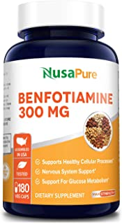 Benfotiamine 300mg 180 Veggie Caps ( Non-GMO,Vegan & Gluten-Free) Supports Healthy Blood Sugar Levels in No...