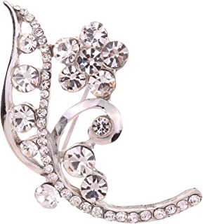 YAZILIND Jewelry Silver Plated Full Crystal Inlay Flower Shape Plated Brooches and Pins for Women