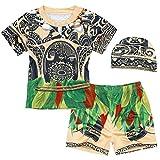 AmzBarley Moana Maui Costume Bambino Ragazzi Due Pezzi Costumi da Bagno Nuoto Cime Pantaloncini Calzoncini Berretto Mare Piscina Carnevale