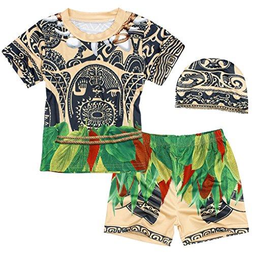 AmzBarley Moana/Maui Traje de Baño Bañador Niña/Niño Una/Dos/3 Piezas Conjunto Ropa de Vereno Playa Piscina Natación Nadar para Hawai Vacaciones Deporte Acuáticos