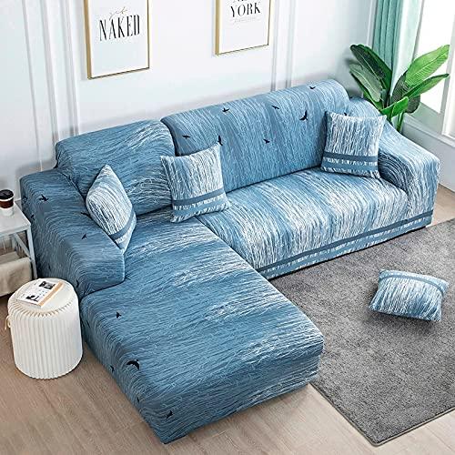 Funda de sofá elástica de Dibujos Animados Funda de sofá de algodón Sofá seccional Necesita Pedir Funda de sofá de 2 Piezas si el sofá en Forma de L A17 de 3 plazas
