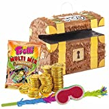 PartyMarty Piraten Set: Pinata Schatztruhe + 144 Goldmünzen + Schläger + Maske + Süßigkeiten-Füllung Kinder