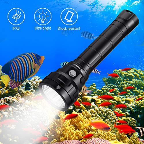 Wurkkos Tauchlampe bis 150 Meter Tiefe,5000 Lumen Tauchen Taschenlampe Wiederaufladbar, 4* Samsung LH351D LED Tauchlampe mit 2x 26650 Akkus und Ladegerät