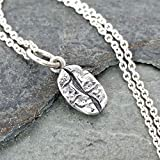 Sterling Silver Tiny Coffee Bean Charm Necklace, 18
