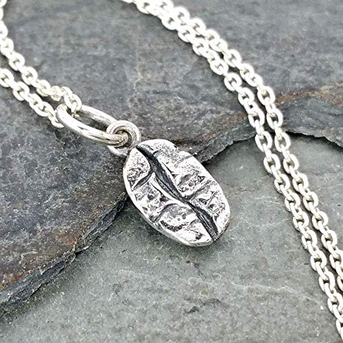 Sterling Silver Tiny Coffee Bean Charm Necklace, 18'