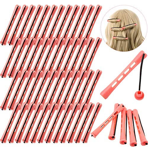 48 Pieces Plastic Hair Perm Rods Long Variety Perm Rods Pink Hair Curling Roller Rods for Women Girls Hair Hairdressing Styling Tools