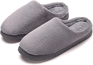Warm Fur Hair Mute Cotton Slippers Home Female Winter Home Indoor Couple Floor Slippers Men Soft Comfort Cotton Shoes (Color : Grey, Size : 40-41)