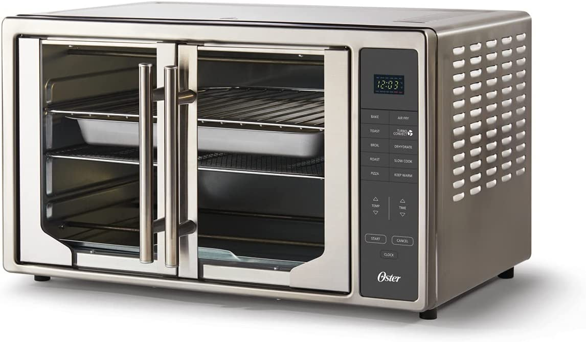 Oster Air Fryer Countertop Toaster Oven | French Door and Digital Controls | Stainless Steel, Extra Large