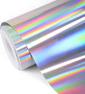 TECKWRAP Glossy Rainbow Holographic Silver Chrome Vinyl 1ftx5ft
