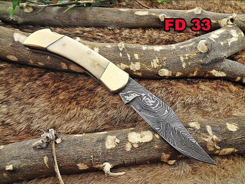 Damascus Steel Blade Back Lever Lock Folding Knife, Natural Camel Bone Scale with Brass Bolster, Leather Sheath Included