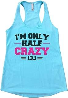 Flowy Womens Im Only Half Crazy 13.1 Running Marathon Tank Top
