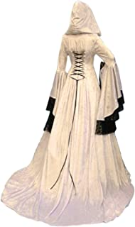 comprar comparacion lancoszp Vestido Maxi con Capucha Medieval de La Vendimia de Las Mujeres de Halloween Disfraz de Encaje Victoriano con Man...