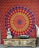 GURU SHOP Boho-Style Wandbehang, Indische Tagesdecke Mandala Druck- Rot/orange/pink, Baumwolle, 230x210 cm, Bettüberwurf, Sofa Überwurf