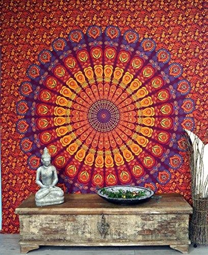 Guru-Shop Indisches Mandala Tuch, Wandtuch, Tagesdecke Mandala Druck - Rot/orange/pink, Baumwolle, 230x210 cm, Bettüberwurf, Sofa Überwurf