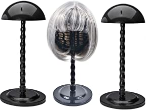 2 Pack Wig Hair Head Mushroom Top New Plastic Folding Stable Durable Hat Cap Display Holder Stand Tool Wig Stand (2 Black)