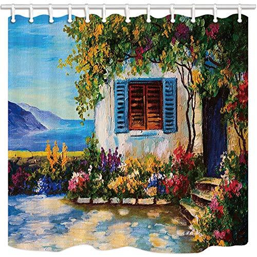 Tenda da Doccia in Stile Toscano, casa in Pietra Dipinta a Olio e Finestra con Vite in Fiore, Tende da Bagno in Tessuto di Poliestere con Ganci