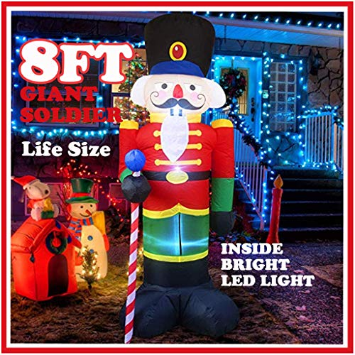 8ft Giant LED Inflatable Soldier Air Model Set - Self-Inflating Nutcracker Christmas Light Up Decoration Toy - Xmas Holiday Indoor Outdoor Yard Garden Porch Scene - Navidad Party Mold Prop (As Shown)