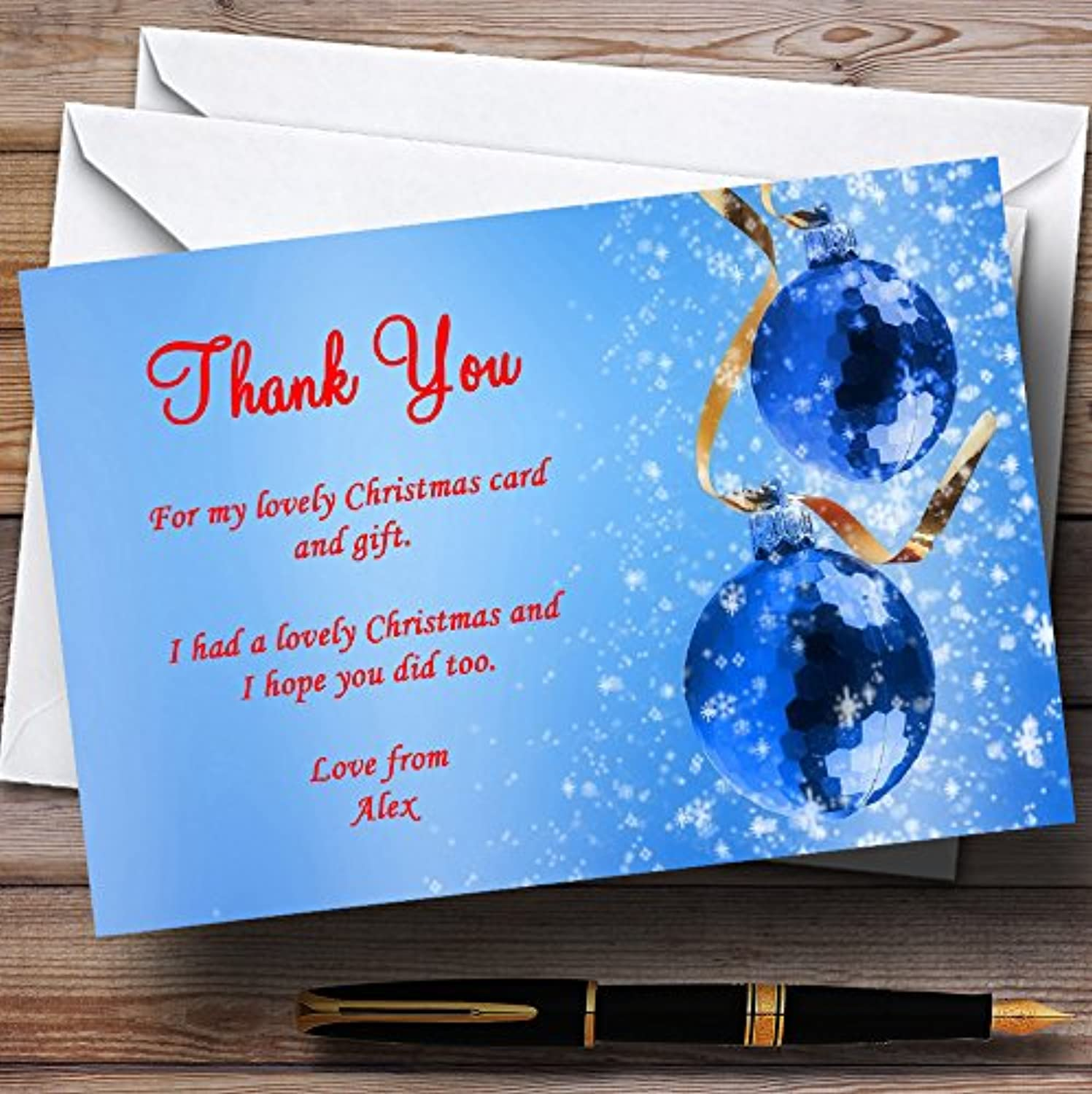 Red And bluee Personalised Christmas   New Year   Holiday Party Thank You Cards