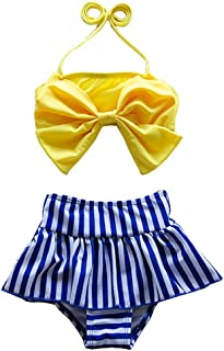 Cute Baby Bikini Big Bowknot Stripe 2 Pieces Skirt Swimwear Sets