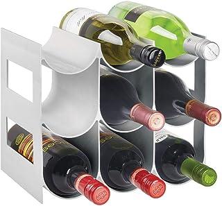 mDesign Plastic Free-Standing Water Bottle and Wine Rack Storage Organizer for Kitchen Countertops, Pantry, Fridge - BPA F...