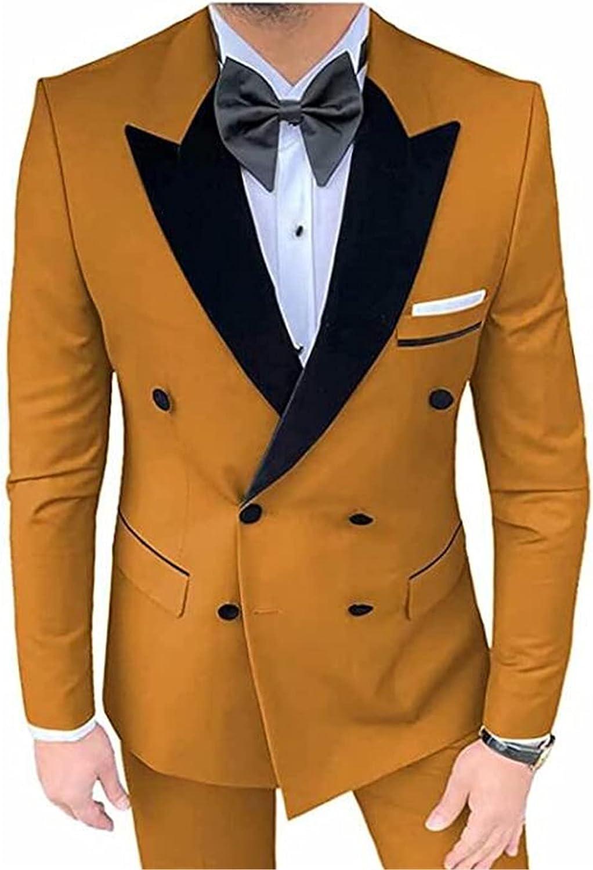 Double Breasted Men Suits(Jacket+Pants) Blazer Wedding Grooms Tuxedo