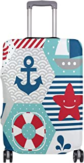 Mydaily Funny Anchor Nautical Pattern Luggage Cover Fits 18-32 Inch Suitcase Spandex Travel Baggage Protector
