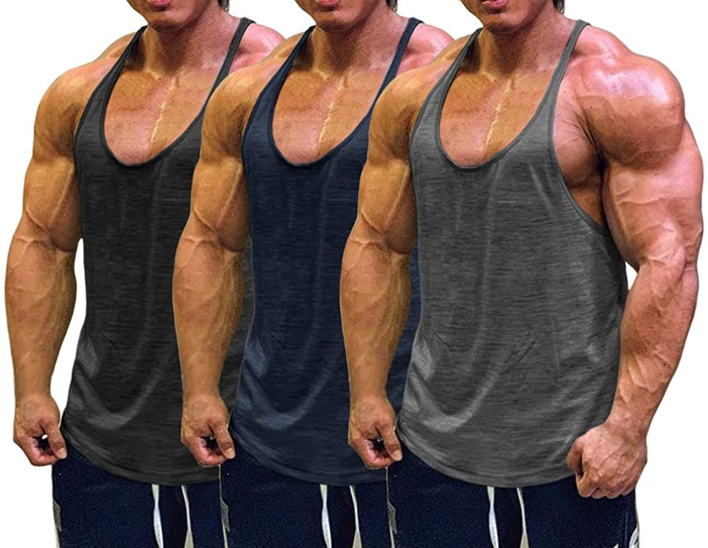 Muscle Cmdr Raleigh Sale item Mall Men's Bodybuilding Stringer Tank Y-Back Tops Fit Gym