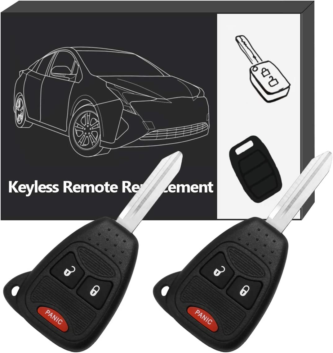 YITAMOTOR Uncut Ignition 3 Button Remote Head Key Compatible for 2006-2015 Jeep Wrangler Key Fob Replacement for OHT692427AA KOBDT04A
