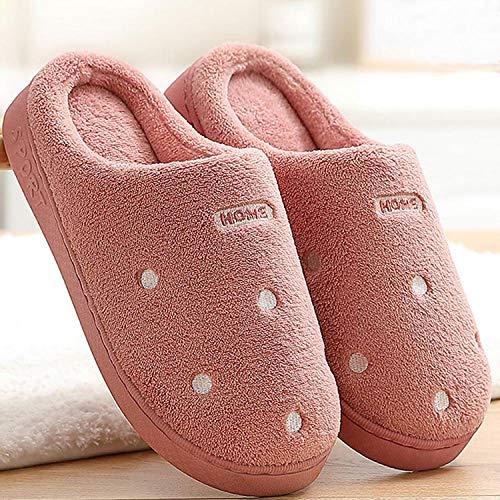 Zapatillas Casa Hombre Mujer Invierno Zapatillas De Mujer para El Hogar Zapatillas De Invierno Cálidas Zapatillas De Baño Antideslizantes De PVC Zapatillas De Casa Unisex Cómodas De Masaje-Wine_R