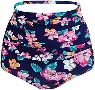 Lau's Braguita de Bikini Mujer Talle Alto - Parte de Abajo Bikini pantalón Estampado Flores - Vintage Retro Bragas de baña...