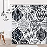 DOSLY IDÉES Boho Black Shower Curtain with Reinforced Buttonholes, for Bathroom Decor,Black and White Fabric with Hooks,Waterproof,72x72 in