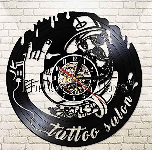 Reloj de Vinilo de 30cm Tattoo Salon Reloj de Pared Decorativo Imagen de Personaje de Dibujos Animados Diseño Moderno Arte de la Pared Decoración Vinyl Record Reloj de Pared