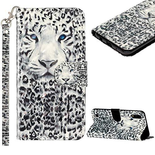 Cestor Handyhülle für Samsung Galaxy A10/M10,Stilvoll Bunt 3D Muster Stoßfest Brieftasche Klapphülle Schutzhülle Klappbar Weich Silikon Ständer Lederhülle mit Kartenfächer,Gefährlicher Leopard