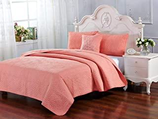 Home Sweet Home Dreams Inc Carrie Collection 4 Piece Coral Quilt Set - Soft Microfiber Bedspread Embroidered Quilt Coverlet for All Season (Full/Queen)