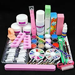 ALL IN ONE ACRYLIC NAIL KIT: Content acrylic powder and Liquid,primer, shinny glitter,nail tips ,glue, basic acrylic nail art tools. there are all the products needed to do acrylic nail, it's convenient and great for any nail artist or beginner. Mult...