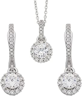 Bevilles Sterling Silver Cubic Zirconia Necklace and Earrings Set Drop
