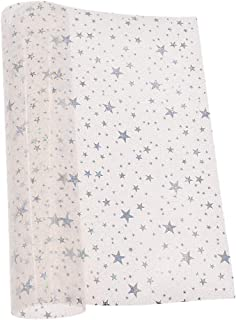 Hongma 生地 表地 きらきら かわいい スター 星柄 PVC製 透明布 レッスンバッグ DIY 手芸材料 ビニル ファブリック A4(29cm*21cm)