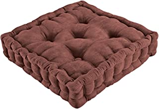 Collections Etc Tufted Padded Boosted Cushion and Support - Plush Seating for Chair with Carrying Handle, Chocolate