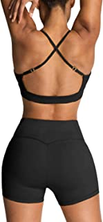 Almaree Women's Workout Set 2 Piece Cross Back Sports Bra and High Waisted Shorts Gym Yoga Outfits