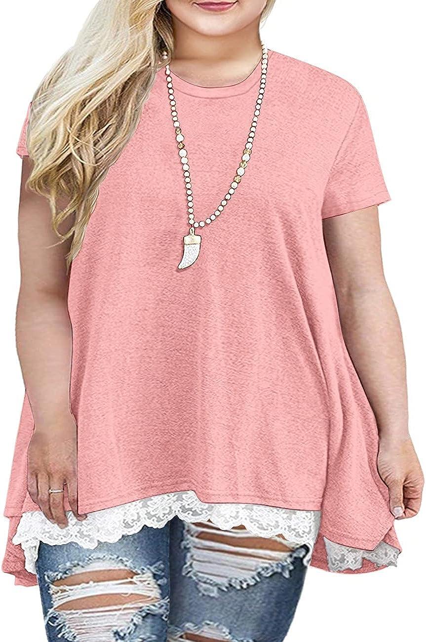Sanifer Women Plus Size Lace Short Sleeve Tunic Tops T Shirts