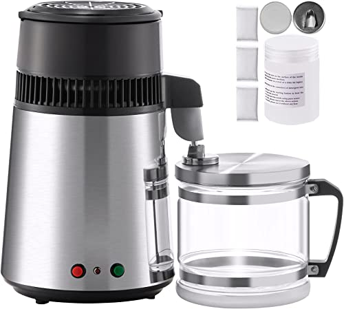 Mophorn Water Distiller, 4L Distilled Water Maker, 304 Stainless Steel Distilled Water Machine, 750W Countertop Water Distiller, Dual-Button Water Distiller for Home, with Glass Container, Sliver