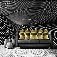 Djskhf 現代の黒と白のトーン3D壁紙の壁3D抽象的な装飾的な絵画壁壁画壁紙家の装飾 160X100Cm