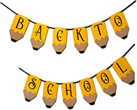Back To School Banner - 12 PCS Back To School Banner (Pencil Letters) - Classroom Decor - Teacher Banner for First Day of School Party Decorations, Welcomback To School Party